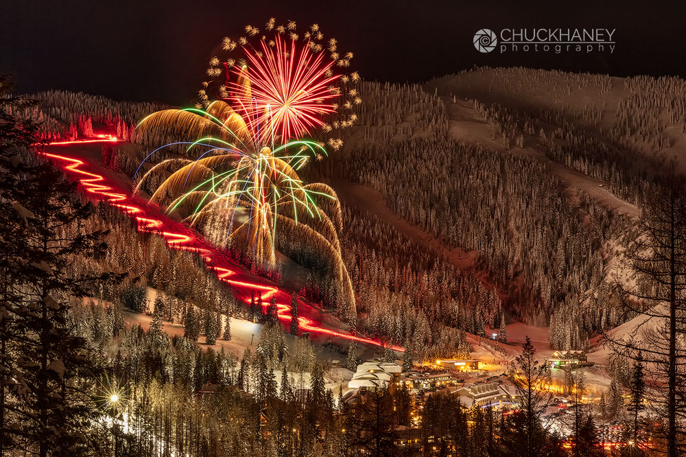 Whitefish, Montana, Whitefish Mountain Resort, winter, Big Mountain, fireworks, celebration, torchlight, parade, New Years, photo