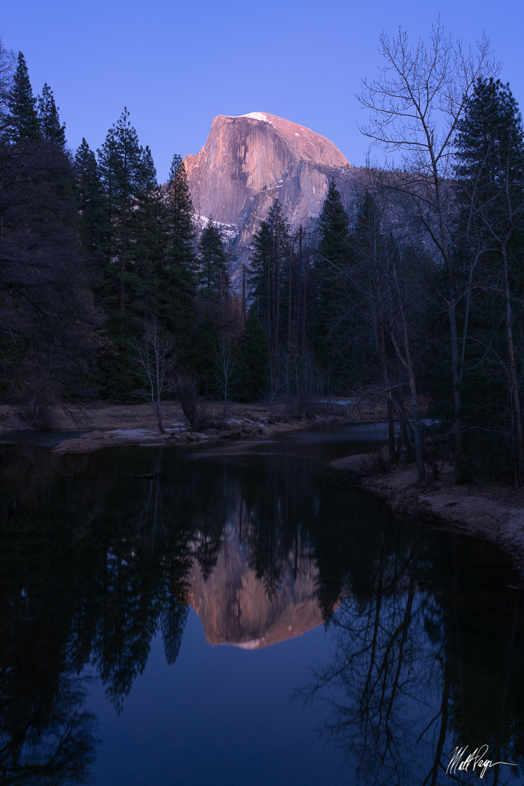 Half Dome, Sentinel Bridge, Yosemite National Park, twilight, photo