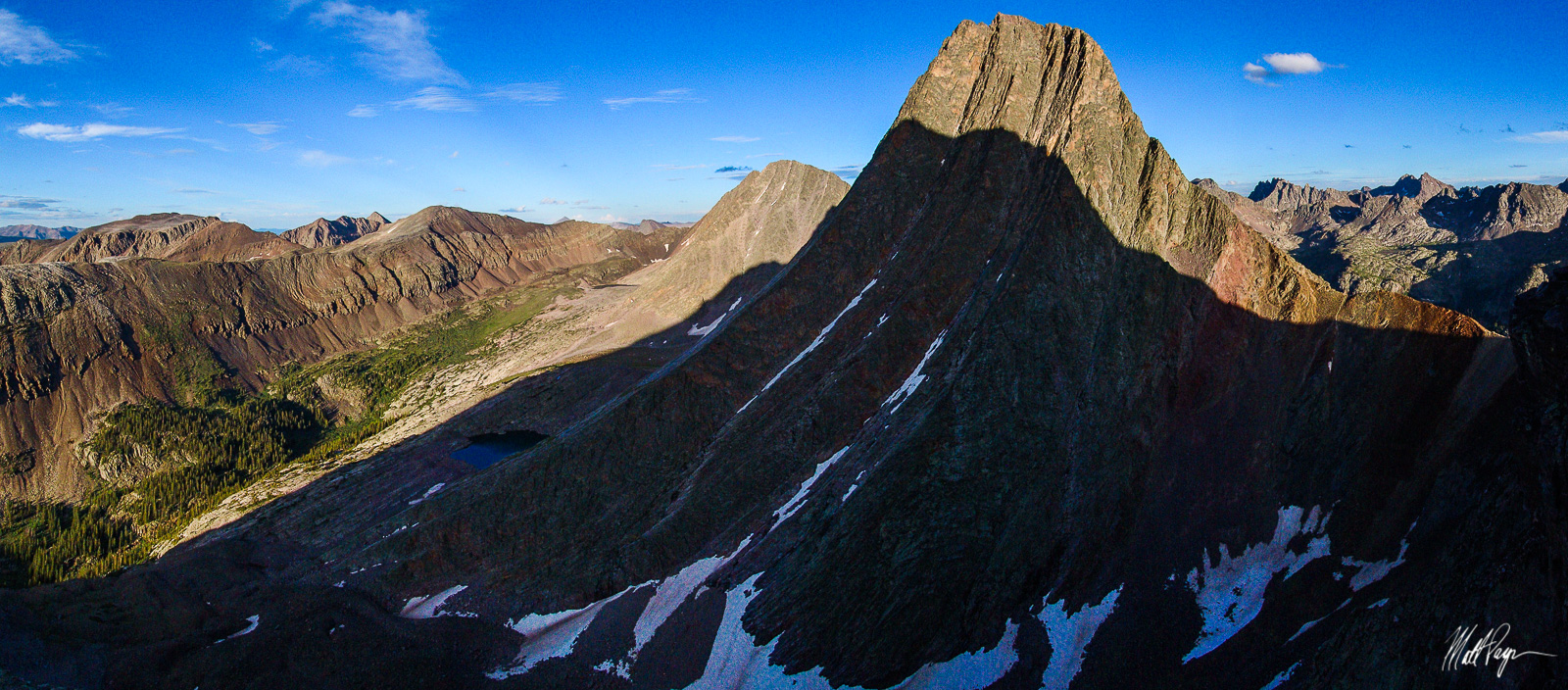 This is the famous view of Vestal Peak's Wham Ridge, taken from the side of Arrow Peak near sunset.