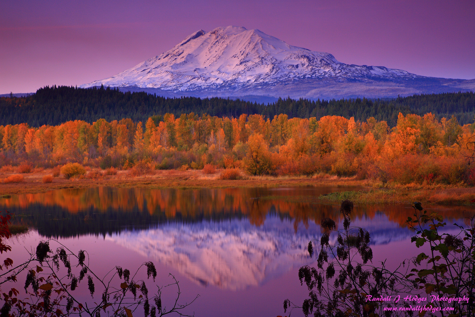 Alpenglow, Aurumn Foilage, Autumn Color, Destination, Fall Color, Fall Foilage, Mt Adams, Natural Area Preserve, Randall J Hodges Photography, Southern Washington, Sunset, Travel, Trout Lake, Trout La, photo