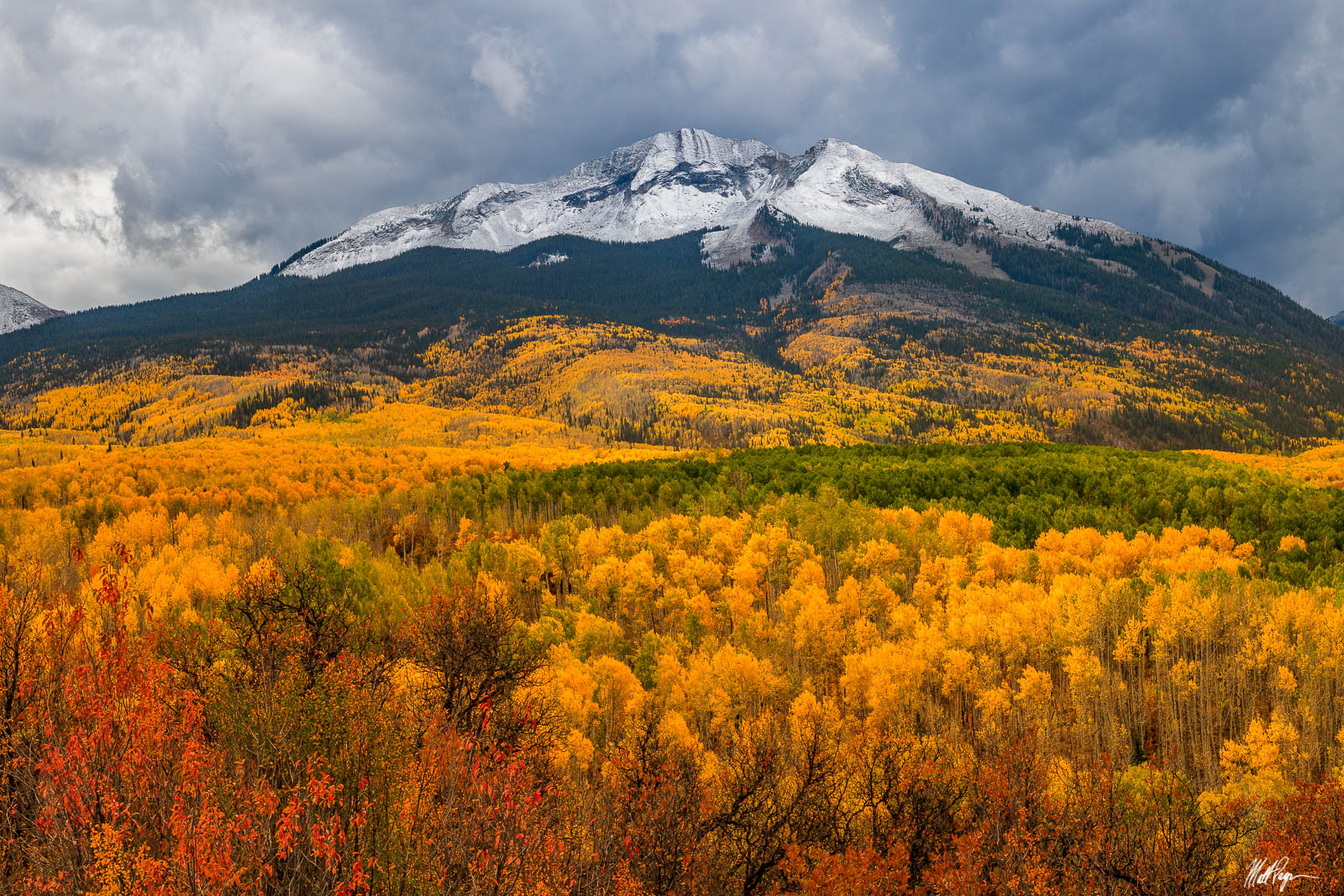Aspen Trees, Autumn, Clouds, Colorado, Crested Butte, Drama, Fall, Fall Colors, Landscape, Moody, Mountains, Stormy, West Elk Mountains, photo