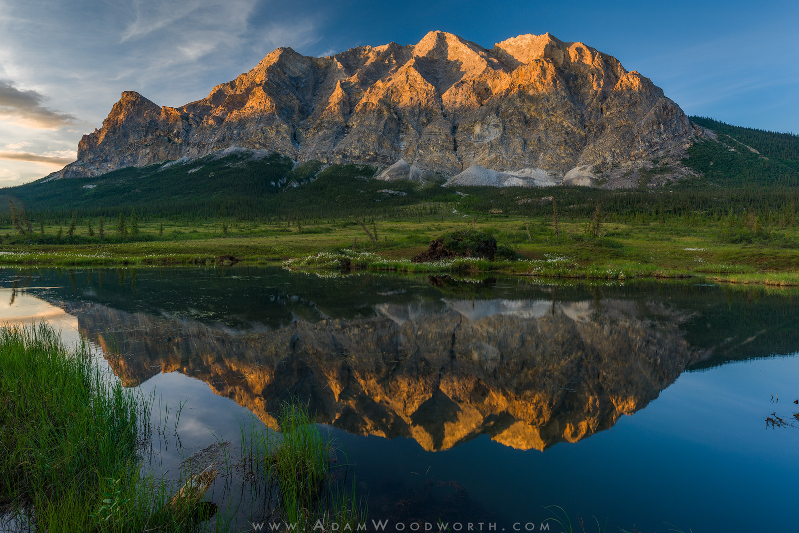 LOFOTEN, Mountains, Sunset, alaska, arctic circle, brooks range, dalton highway, limestone, marble, palsas, pond, reflection, sukakpak mountain, photo