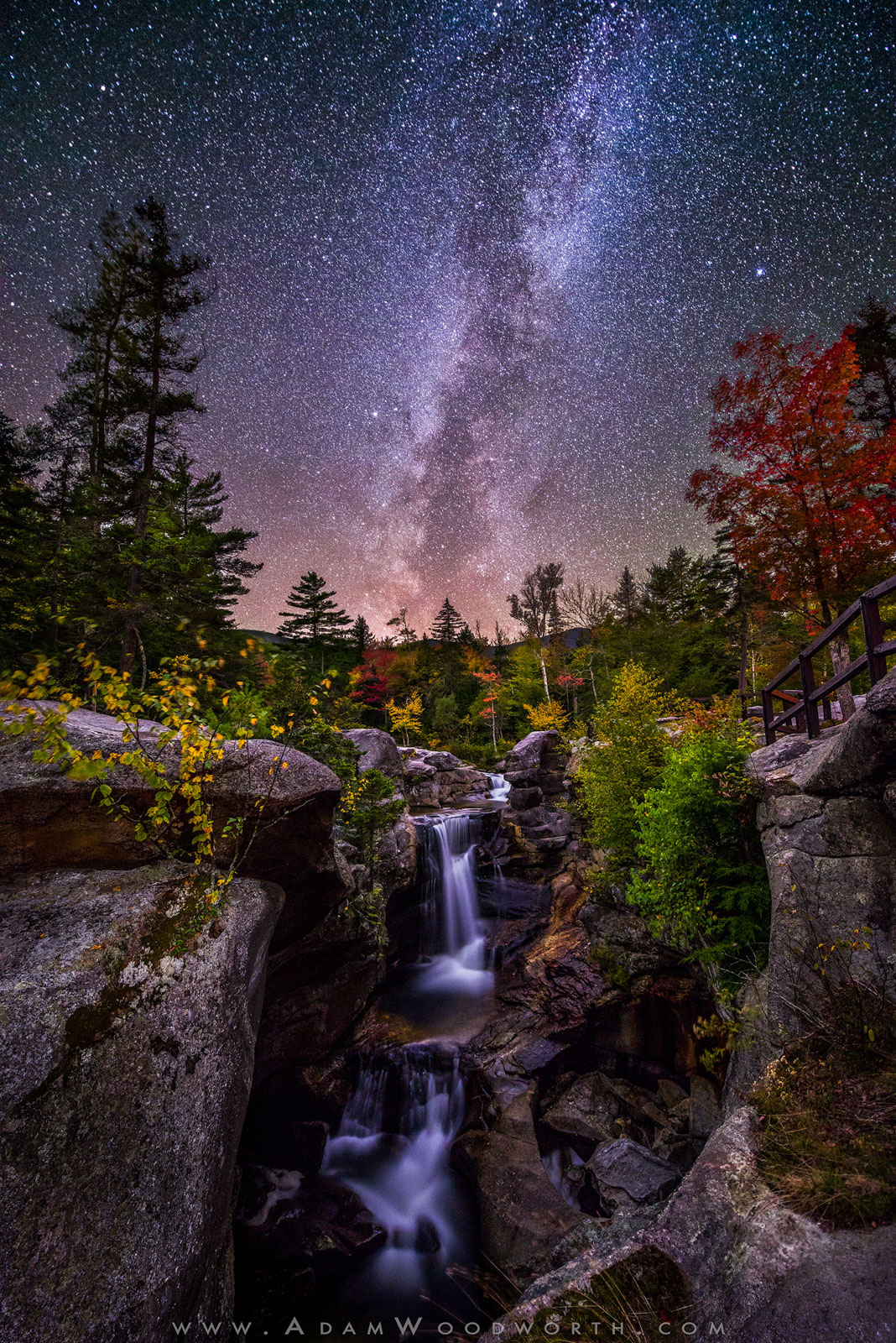 Maine, astrophotography, autumn, foliage, grafton notch, milky way, new england, night, screw auger falls, stars, waterfall, photo
