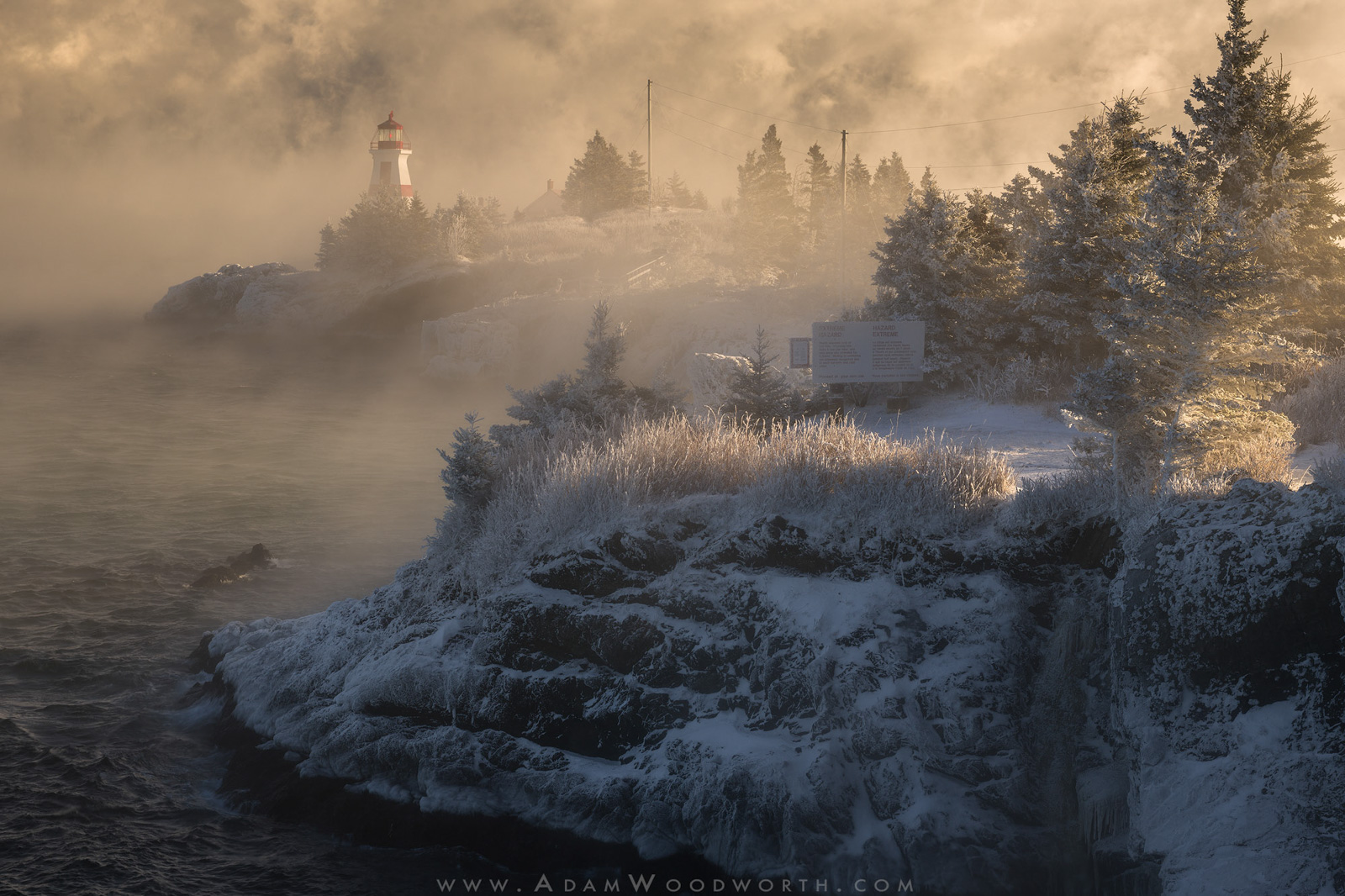 Canada, Winter, bay of fundy, campobello island, east quoddy lighthouse, fog, head harbor lighthouse, lighthouse, maritimes, mist, new brunswick, rime rice, sea smoke, seacoast, sunrise, photo