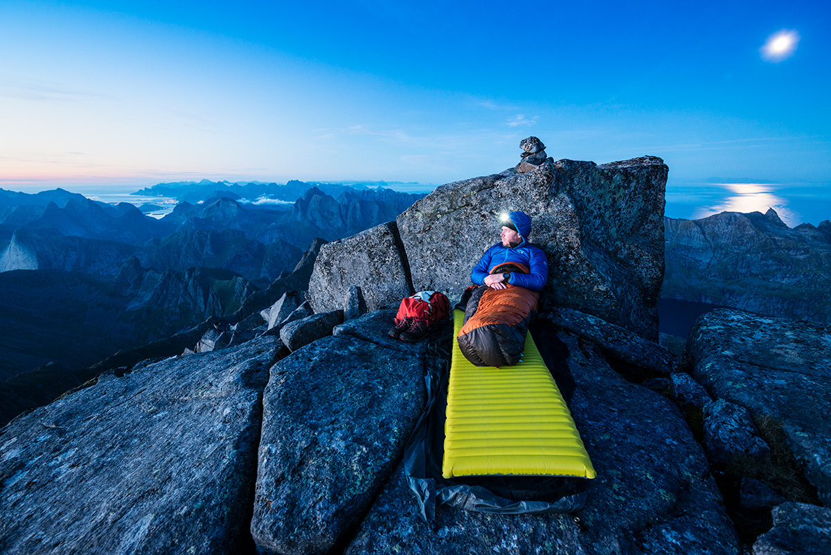 Above, Adult, Bivouac, Bivy, Hiking, Horizon, LOFOTEN, Landscape, Landscapes, Lifestyle, MOUNTAIN NAMES, Male, Moskenesøy, Moskenesøya, Mountain Peak, Mountains, Outdoors, Outside, Overlooking, Person, photo