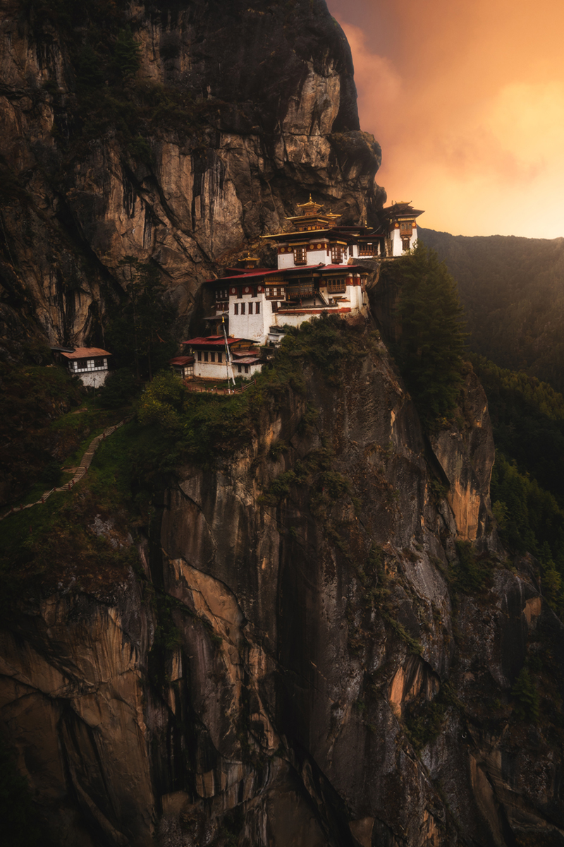 andrew studer, anicent, asia, bhutan, bhutanese, buddist, cliff, color, fortress, landscape photography, paro, print, sunset, temple, tigers nest, warm tiger, photo
